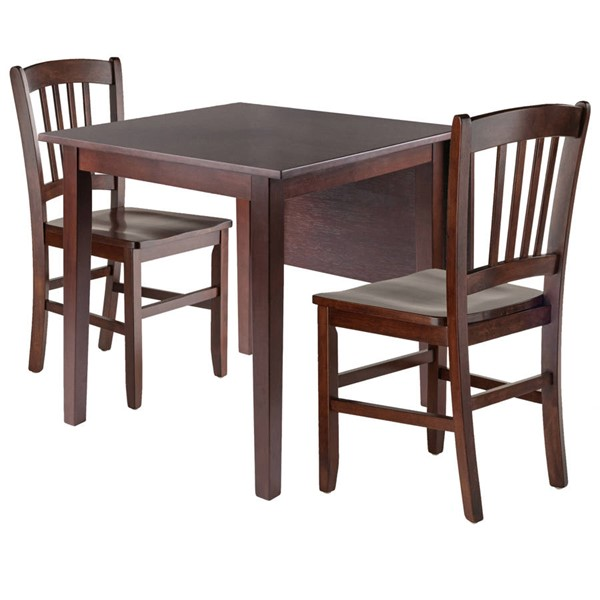 Winsome Perrone Walnut Drop Leaf 3pc Dining Room Set with Slat Back Chair WNS-94835