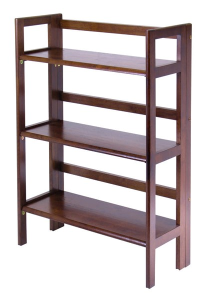 Winsome Terry Walnut Solid Wood 3 Shelf Folding Bookcase WNS-94896