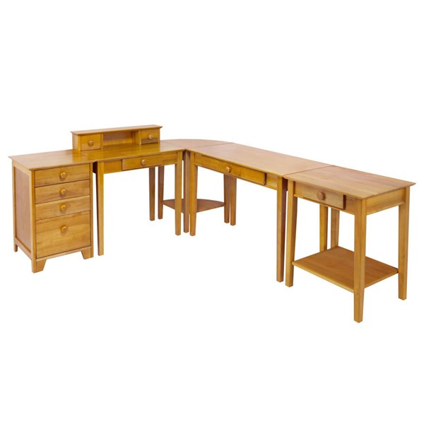 Winsome Studio Honey Solid Wood 5pc Office Furniture Set WNS-99555