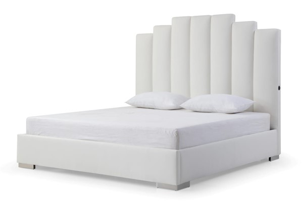 Whiteline Jordan White Faux Leather Beds with Double USB In Headboard WTL-BK1688P-BED-V1