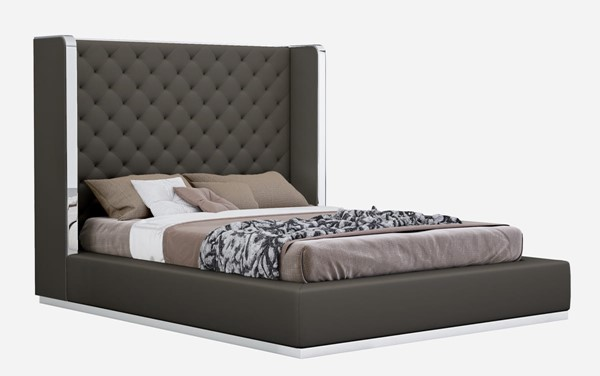 Whiteline Abrazo Dark Grey Faux Leather Tufted Headboard Queen Bed WTL-BQ1356P-DGRY