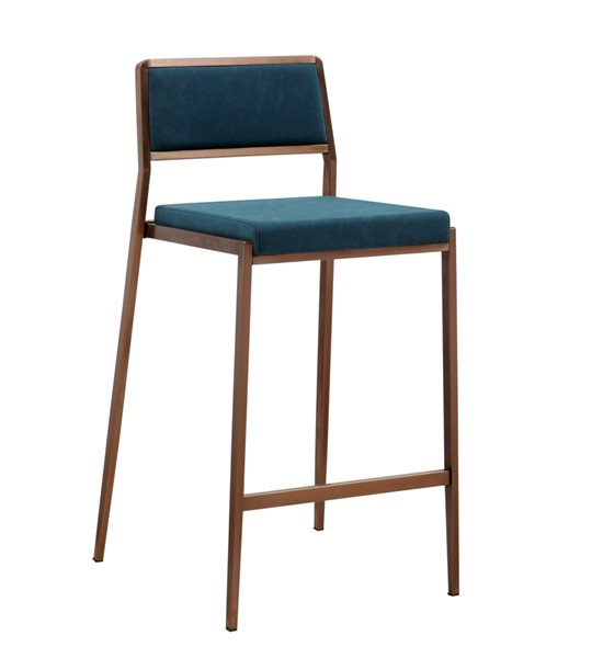 2 Whiteline Clifton Teal Blue Stainless Steel Counter Stools WTL-BS1627P-TBLU