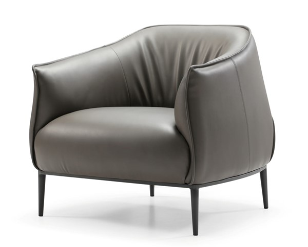 Whiteline Benbow Dark Grey Faux Leather Steel Leisure Chair WTL-CH1706P-DGRY
