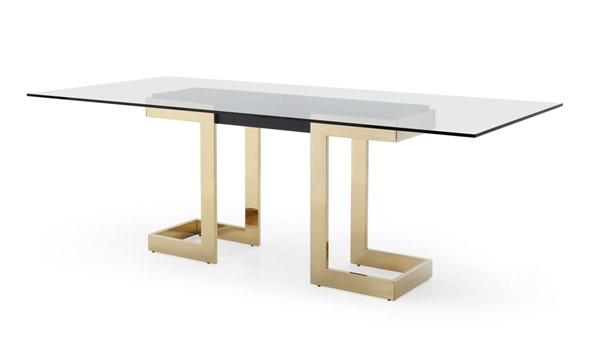 Whiteline Sumo Clear Glass Black Gold Stainless Steel Rectangle Dining Table WTL-DT1658-BLK