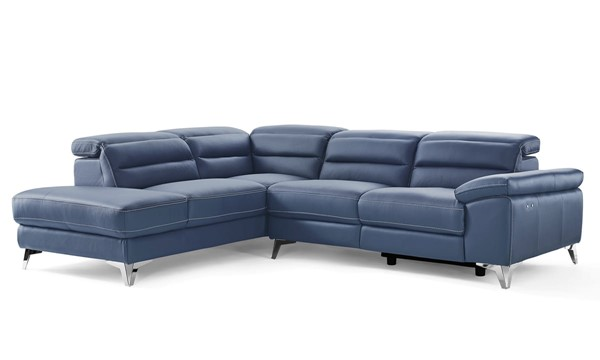 Whiteline Johnson Navy Blue Leather Sectional with LAF Chaise WTL-SL1349L-NVY