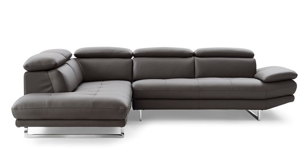 Whiteline Pandora Dark Gray Leather Sectional with LAF Chaise WTL-SL1351L-DGRY