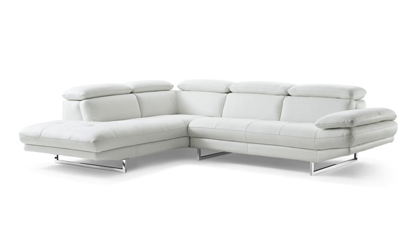 Whiteline Pandora White Leather Sectional with LAF Chaise WTL-SL1351L-WHT