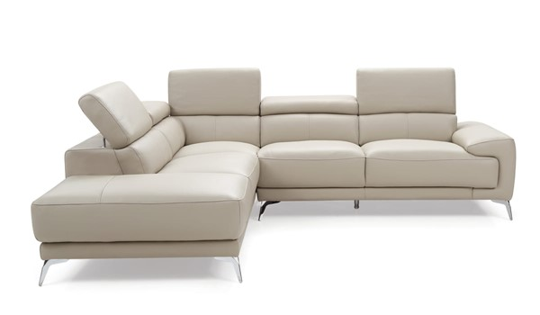 Whiteline Fabiola Light Grey Leather Sectional with LAF Chaise WTL-SL1467LS-LGRY