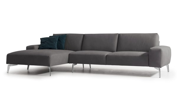 Whiteline Negramaro Dark Grey Leather Sectional with LAF Chaise WTL-SL1615-DGRY