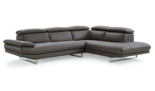 Whiteline Pandora Dark Gray Leather Sectional with RAF Chaise WTL-SR1351L-DGRY
