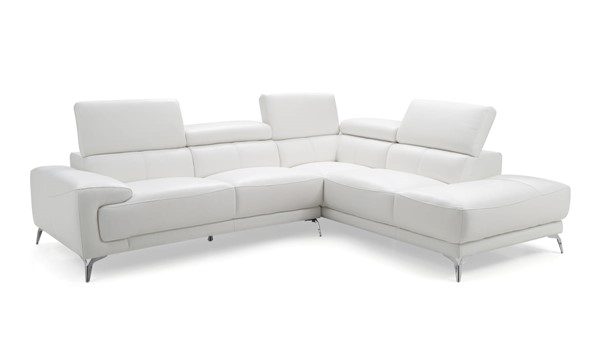 Whiteline Fabiola White Leather Sectional with RAF Chaise WTL-SR1467LS-WHT