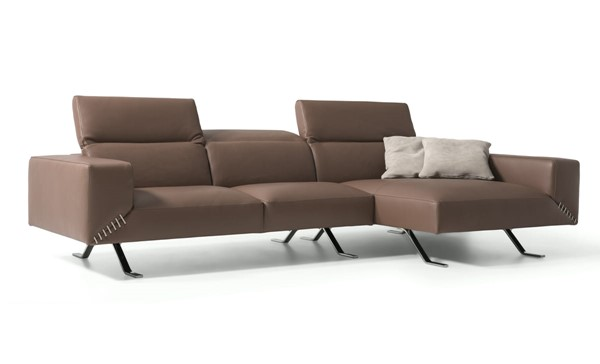 Whiteline Henry Taupe Leather Sectional with RAF Chaise WTL-SR1614-TAU