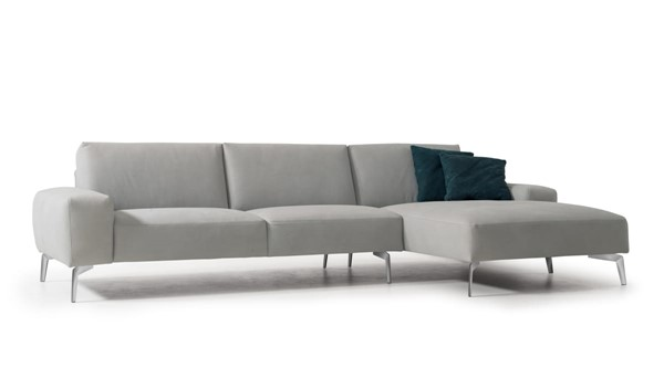 Whiteline Negramaro Light Grey Leather Sectional with RAF Chaise WTL-SR1615-LGRY
