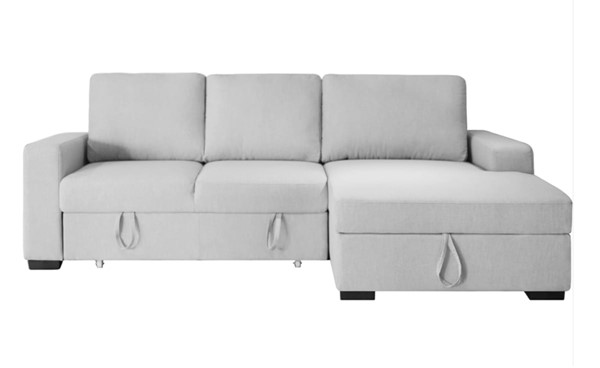 Whiteline Elga Light Grey Fabric Plastic Sectional Bed with RAF Chaise WTL-SR1708F-LGRY