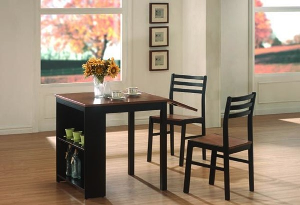 Casual Walnut Black Wood 3pc Pack Dining Set CST-130015