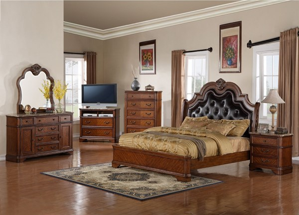 B298 series brown wood leather marble master bedroom set the classy home for Brown leather bedroom furniture