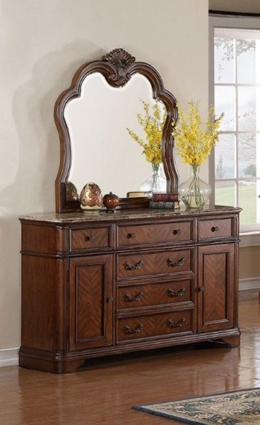 B298 Series Brown Wood Marble Top French Dovetail Handle Dresser ZBR-B298-06