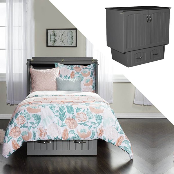 Zebra Products Rajkot Grey Twin Murphy Chest Bed With Coolsoft Mattress ZBR-AC592149