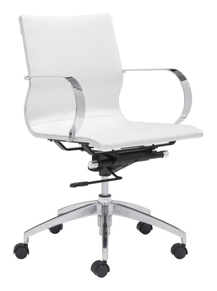 Zuo Furniture Glider White Low Back Office Chair ZUO-100375