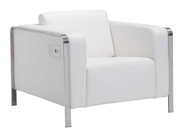 Zuo Furniture Thor White Track Arm Chair ZUO-100384
