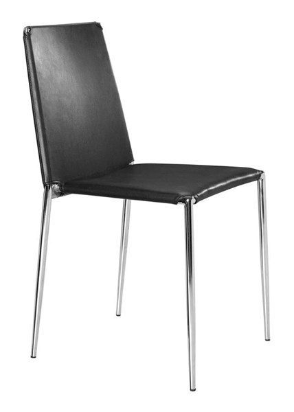 4 Zuo Furniture Alex Black Dining Chairs ZUO-101105
