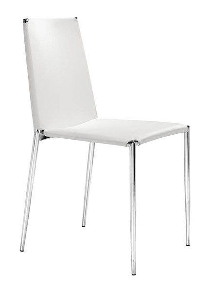 4 Zuo Furniture Alex White Dining Chairs ZUO-101106