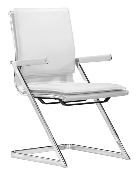 2 Zuo Furniture Lider Plus White Conference Chairs ZUO-215211