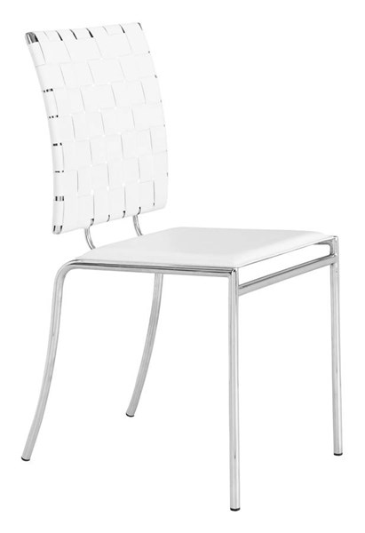 4 Zuo Furniture Criss Cross White Dining Chairs ZUO-333011