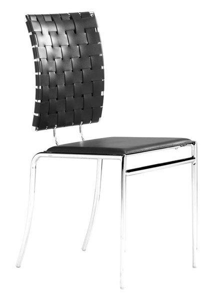 4 Zuo Furniture Criss Cross Black Dining Chairs ZUO-333012