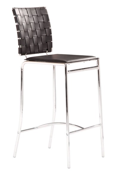 2 Zuo Furniture Criss Cross Black Counter Chairs ZUO-333062