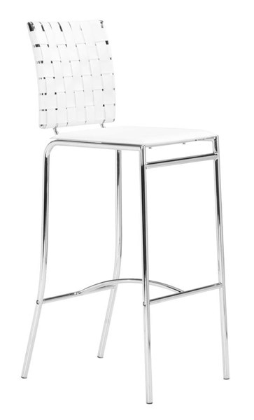 2 Zuo Furniture Criss Cross White Bar Stools ZUO-333071