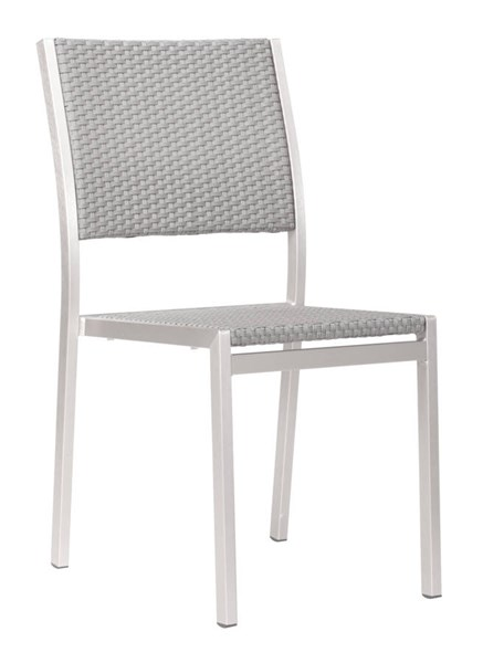 2 Zuo Furniture Metropolitan Brushed Aluminum Dining Armless Chairs ZUO-701866