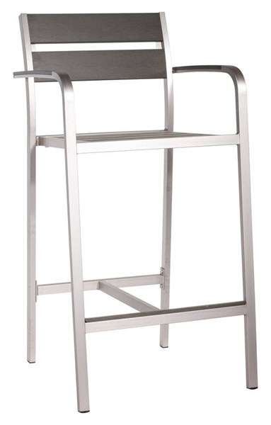 2 Zuo Furniture Megapolis Vive Brushed Aluminum Bar Arm Chairs ZUO-703185