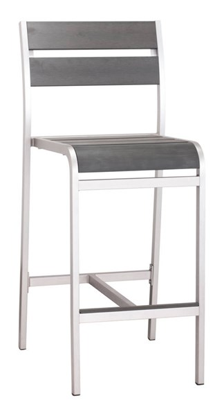 2 Zuo Furniture Megapolis Vive Brushed Aluminum Bar Armless Chairs ZUO-703186