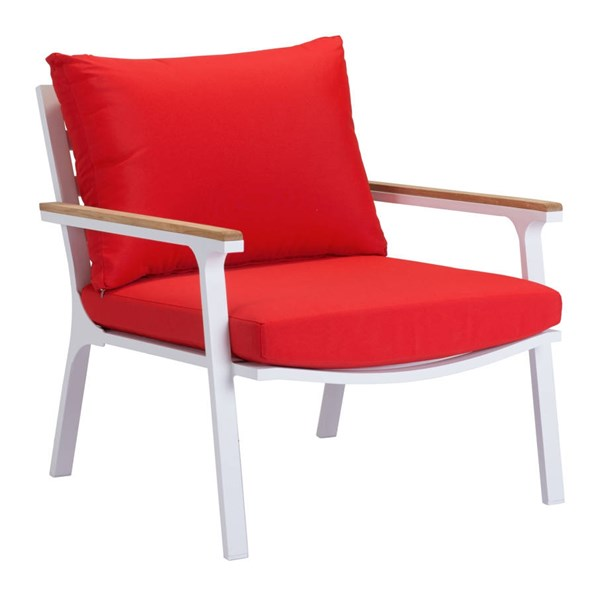 2 Zuo Furniture Maya Beach Vive Red Arm Chairs ZUO-703574