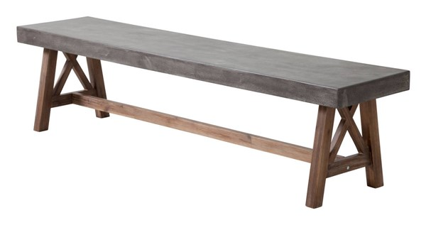 Zuo Furniture Ford Vive Cement Bench ZUO-703595
