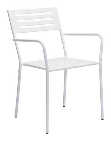 2 Zuo Furniture Wald Vive White Powder Coated Dining Arm Chairs ZUO-703610