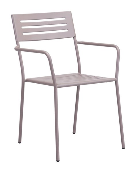 2 Zuo Furniture Wald Vive Taupe Powder Coated Dining Arm Chairs ZUO-703611