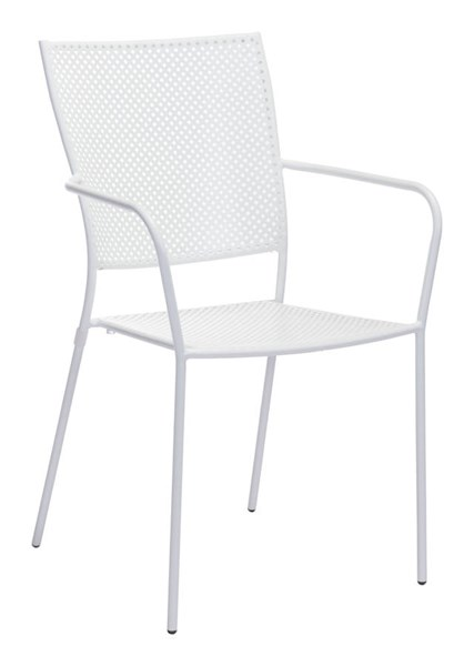 2 Zuo Furniture Pom Vive White Powder Coated Dining Chairs ZUO-703614