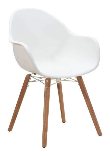 4 Zuo Furniture Tidal White Dining Chairs ZUO-703752
