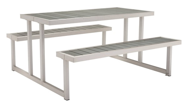 Zuo Furniture Cuomo Vive Brushed Aluminum Picnic Table ZUO-703784