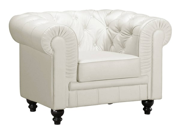 Zuo Furniture Aristocrat White Tufted Back Arm Chair ZUO-900101