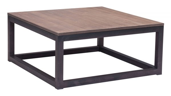 Zuo Furniture Civic Center Distressed Natural Square Coffee Table ZUO-98122