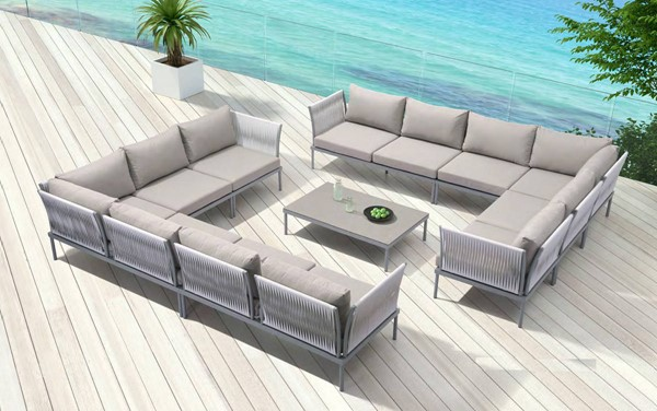 Zuo Furniture Sand Beach Vive Gray 51pc Outdoor Patio Seating Set ZUO-SAND-BEACH-S2