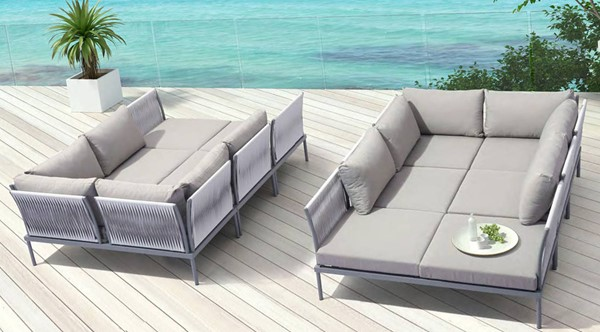 Zuo Furniture Sand Beach Vive Gray 46pc Outdoor Patio Seating Set ZUO-SAND-BEACH-S3