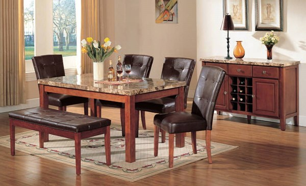 Bologna Transitional Brown Marble PU Wood 6pc Dining Room Complete Set ACM-07045SMS