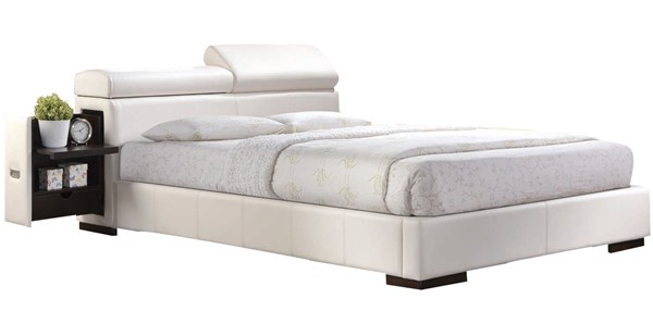 Acme Furniture Manjot White Queen Bed with Build In Two Nightstands ACM-20420Q
