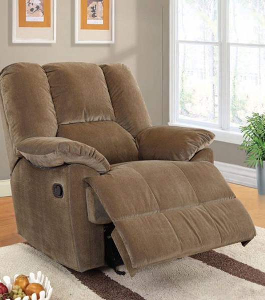 Oliver Sage Dark Brown Gray Fabric Wood Recliners ACM-59093-LR