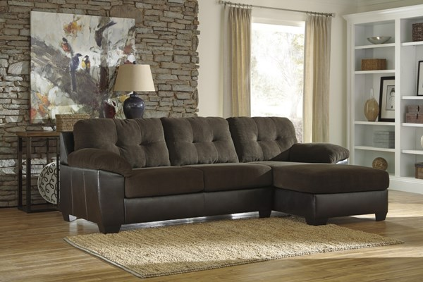 Vanleer Contemporary Chocolate PVC Sectional W/LAF Sofa & Ottoman 15900-SEC3