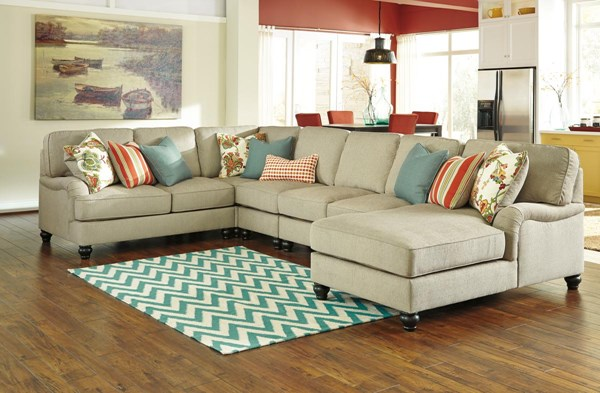 Kerridon Transitional Putty 5pc Sectional With Chaise 26300-SEC3-VAR
